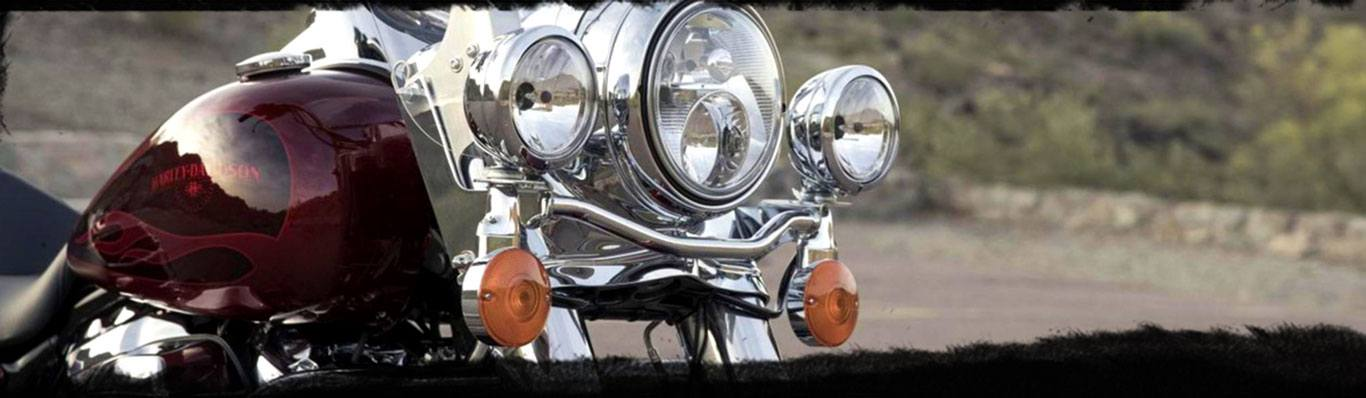 Close Up of the headlights on a Harley Davidson motorcycle.