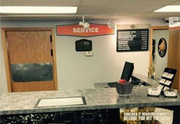 The service department desk.